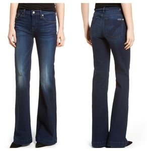 7FAM Dojo Wide Leg Jeans Crystal Pocket Dark Wash